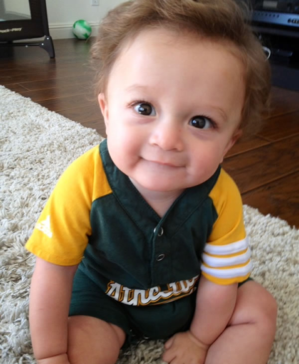 "<div class=""meta ""><span class=""caption-text "">Good luck A's... From your little fans, Mason who's just turning 8 month today. (Photo submitted via uReport)</span></div>"