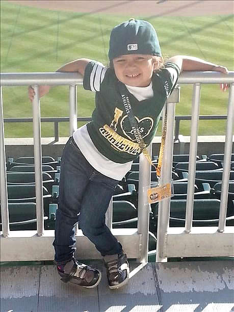 My name is Aaliyah Braye from San Jose and I'm 3yrs old. This picture was taken at the A's game. I'm a 4th generation A's fan. Let's Go Oakland! (Photo submitted via uReport by anonymous user)