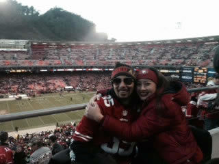 All hugs and smiles after 49ers defeat Seahawks! #FarewellCandlestick.  The time has come to say goodbye - let&#39;s preserve the memories.  Send us your favorite Candlestick pics.  We may share them on air! <span class=meta>(photo submitted by Angelica Galang via uReport)</span>