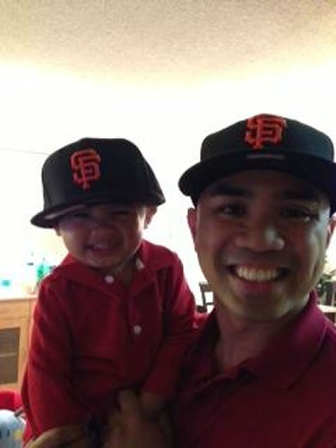 my husband and our son! My son's first official giants cap!! GO Giants!!! (Photo submitted via uReport)