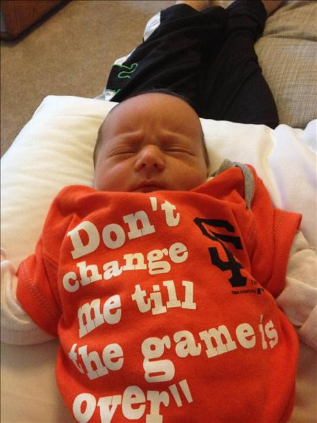 Baby Ean can't wait to watch his first World Series with his home team!(Sent via uReport)