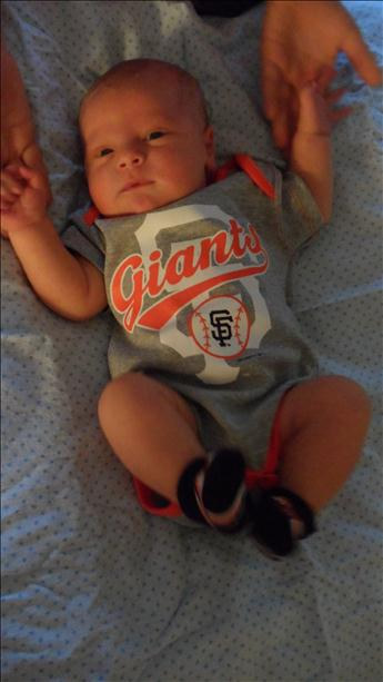 Noah Michael Leone, SF Giants newest little fan. Just came home from hospital today just in time to watch first game of 2012 World Series. Submitted by Misty Leone  (Sent via uReport)