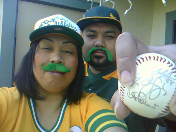 "<div class=""meta image-caption""><div class=""origin-logo origin-image ""><span></span></div><span class=""caption-text"">Desiree and Sam F. love the Oakland A's!  Sam proposed to Desiree in Sec. 241 Row 7 in 2006 at the Oakland Coliseum. (Photo submitted via uReport by Desiree F.) (KGO)</span></div>"