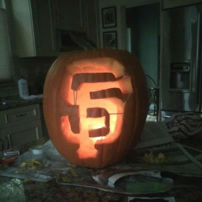 This lucky pumpkin got us through the 2010 World Series and it will get us through this World Series. GO GIANTS! BELIEVE (Photo submitted via uReport)