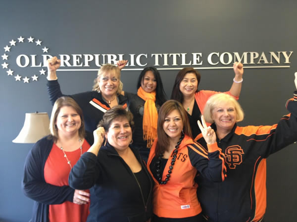 "We at Old Republic Title/San Bruno have Giants  Spirit and will be cheering our team on."" Submitted by ""Maureen""  (Sent via uReport)"