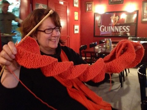 "<div class=""meta ""><span class=""caption-text "">Knitting a lucky Giants scarf while watching Game 1 and wearing the lucky World Series scarf I knitted during the 2010 World Series! Submitted by Juster Hill (Sent via uReport) </span></div>"