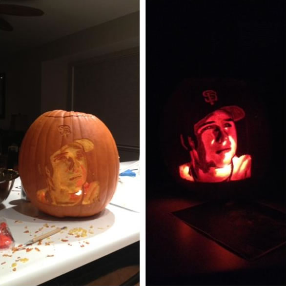 Buster Posey carving by Casey Slate (Photo...