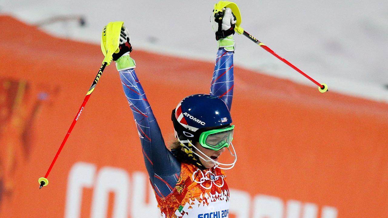 Gold medal winner Mikaela Shiffrin of the United States celebrates as she finishes the second run of the womens slalom at the Sochi 2014 Winter Olympics, Friday, Feb. 21, 2014, in Krasnaya Polyana, Russia.(AP Photo/Christophe Ena)