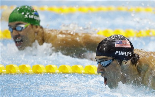 "<div class=""meta image-caption""><div class=""origin-logo origin-image ""><span></span></div><span class=""caption-text"">United States' Michael Phelps, front, and South Africa's Chad le Clos compete in the men's 200-meter butterfly swimming final at the Aquatics Centre in the Olympic Park during the 2012 Summer Olympics in London, Tuesday, July 31, 2012. Le Clos won gold, Phelps silver. (AP Photo/Matt Slocum)</span></div>"
