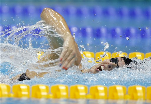 "<div class=""meta ""><span class=""caption-text "">United States' Allison Schmitt competes in the women's 200-meter freestyle swimming final before winning the gold medal at the Aquatics Centre in the Olympic Park during the 2012 Summer Olympics in London, Tuesday, July 31, 2012.  (AP Photo/Daniel Ochoa De Olza)</span></div>"