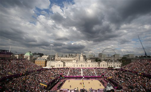 General view of the Beach Volleyball venue at the 2012 Summer Olympics, Saturday, July 28, 2012, in London. <span class=meta>(AP Photo&#47;Petr David Josek)</span>