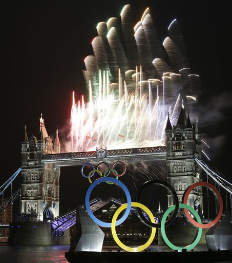 "<div class=""meta ""><span class=""caption-text "">Fireworks light up Tower Bridge during the Opening Ceremony of the 2012 Summer Olympics, Friday, July 27, 2012, in London. (AP Photo/Alastair Grant)</span></div>"