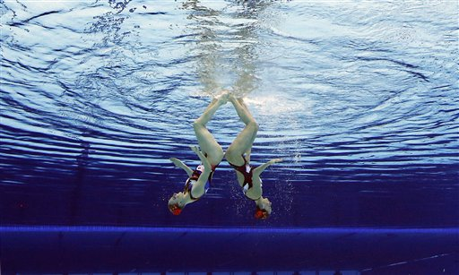 Natalia Ischenko and Svetlana Romanshina of Russia compete during women&#39;s duet synchronized swimming preliminary round at the Aquatics Centre in the Olympic Park during the 2012 Summer Olympics in London, Monday, Aug. 6, 2012. <span class=meta>(AP Photo&#47;Mark J. Terrill)</span>