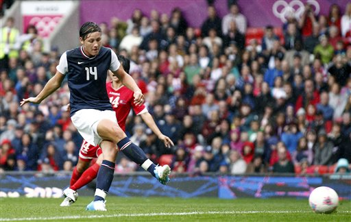 "<div class=""meta ""><span class=""caption-text "">United States' Abby Wambach scores against North Korea during their group G women's soccer match at the London 2012 Summer Olympics, Tuesday, July 31, 2012 at Old Trafford Stadium in Manchester, England.  (AP Photo/Jon Super)</span></div>"