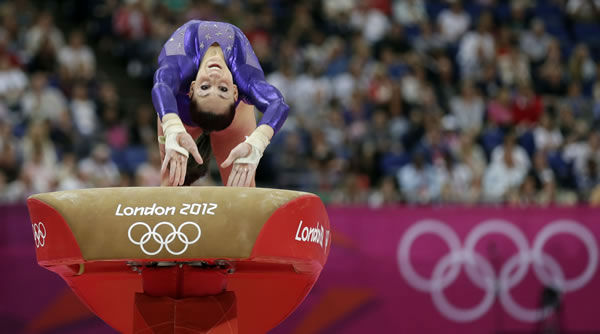 "<div class=""meta ""><span class=""caption-text "">U.S. gymnast Jordyn Wieber performs on the vault during the Artistic Gymnastics women's qualification at the 2012 Summer Olympics, Sunday, July 29, 2012, in London. (AP Photo/Gregory Bull)  </span></div>"