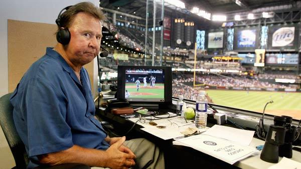FILE - In this Oct. 4, 2007, file photo, former Chicago Cubs great and longtime radio announcer Ron Santo sits in the broadcast booth during a baseball game at Chase Field in