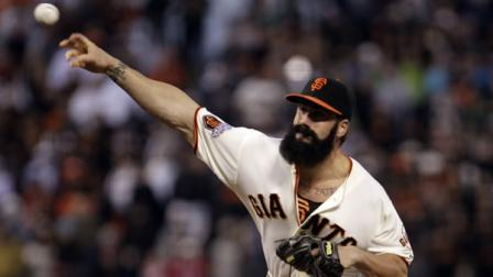In this June 12, 2011, file photo, San Francisco Giants Brian Wilson works against the Cincinnati Reds during the ninth inning of a baseball game in San Francisco. (AP Photo/Ben Margot, File)