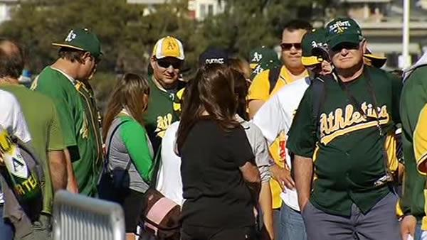 A's fans enjoy playoff game at home