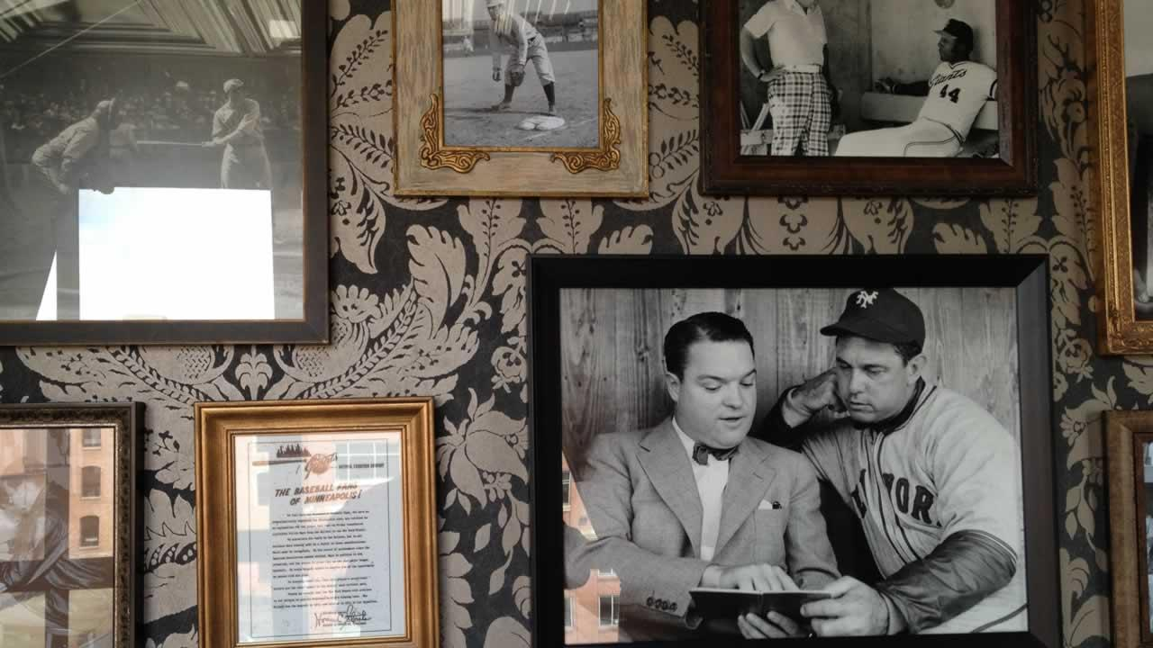 Pictures on the wall of the Gotham Club on the suite level at AT&T Park in San Francisco.
