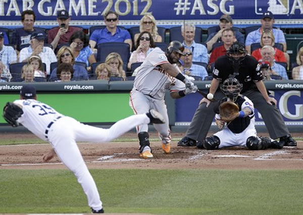 "<div class=""meta ""><span class=""caption-text "">National League's Pablo Sandoval, of the San Francisco Giants, hits a three-run triple on a pitch by American League's Justin Verlander, of the Detroit Tigers, in the first inning the MLB All-Star baseball game Tuesday, July 10, 2012, in Kansas City, Mo. (AP Photo/Charlie Neibergall)</span></div>"