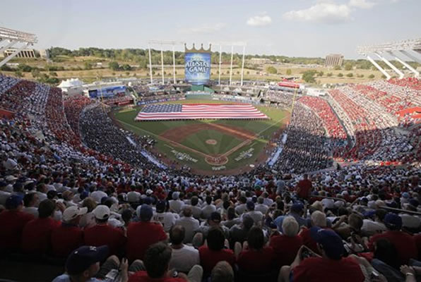 "<div class=""meta ""><span class=""caption-text "">Crowd filled Kauffman stadium is seen during the pregame of the MLB All-Star baseball game, Tuesday, July 10, 2012, in Kansas City, Mo. (AP Photo/Kiichiro Sato)</span></div>"