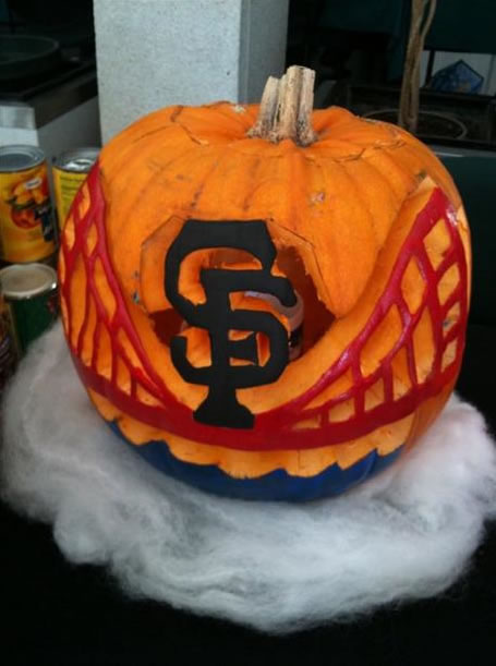 This picture of the SF Giants pumpkin was carved by Joey Barbarotto in support of the county of San Mateo.  (Photo submitted by Erika via uReport)
