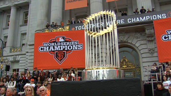 The World Series trophy at the Civic Center Plaza celebration