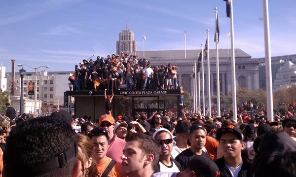 Photos of the San Francisco Giants celebrating their World Series victory with a parade in downtown.  (Photo submitted by J. Woo via uReport)