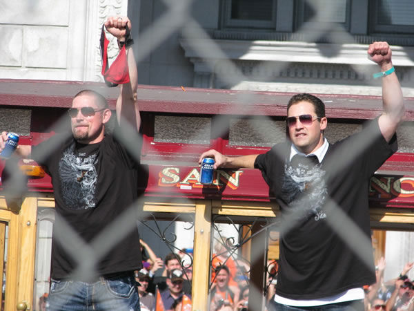 Photos of the San Francisco Giants celebrating their World Series victory with a parade in downtown.  (Photo submitted by Sarah Barrett via uReport)