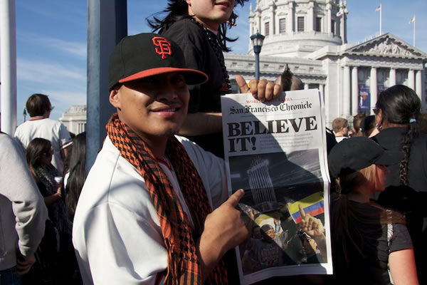 Photos of the San Francisco Giants celebrating their World Series victory with a parade in downtown.  (Photo submitted by Gina Galindo via uReport)