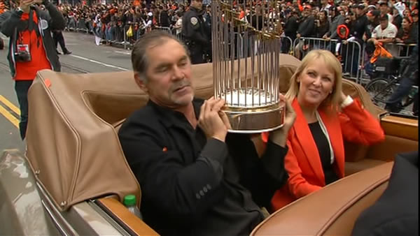 Bruce Bochy celebrating at the SF Giants World Series parade <span class=meta>(KGO)</span>