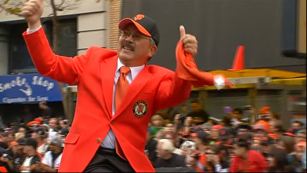 Mayor Ed Lee celebrating at the SF Giants World...