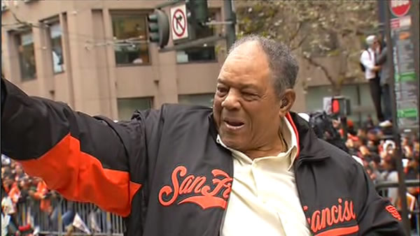 "<div class=""meta ""><span class=""caption-text "">Willie Mays at the SF Giants World Series parade (KGO)</span></div>"