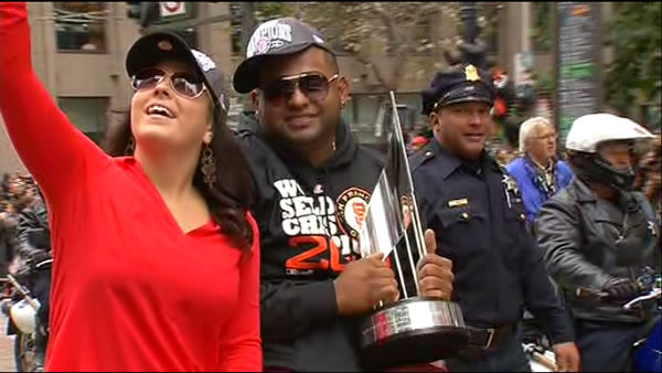 Pablo Sandoval celebrating at the SF Giants World Series parade <span class=meta>(KGO)</span>