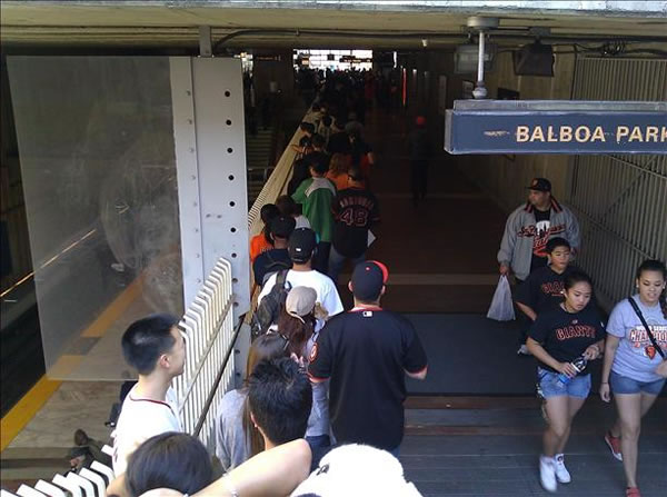 Fans wait in line at BART&#39;s Balboa Park station to get to downtown SF for the Giants victory parade. <span class=meta>( &#40;Photo submitted via uReport&#41; )</span>