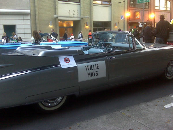 Willy May&#39;s car ready for the Giants victory parade.  <span class=meta>(&#40;Photo submitted by Kristen Sze via Twitpic&#41;)</span>