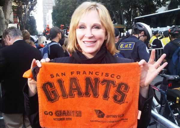 "<div class=""meta ""><span class=""caption-text "">ABC7's Cheryl Jennings is ready for some fun at the Giants victory parade. (Photo submitted by ABC7's Cheryl Jennings)</span></div>"