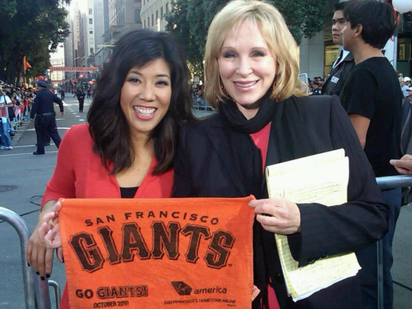 ABC7&#39;s Cheryl Jennings and Kristen Sze are ready for some fun at the Giants victory parade. <span class=meta>(&#40;Photo submitted by Janelle Wang via Twitpic&#41;)</span>
