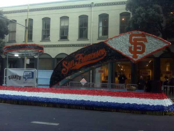 Floats decked out in Giants colors get ready for the Giants victory parade. <span class=meta>(&#40;Photo submitted by Kristen Sze via Twitpic&#41;)</span>