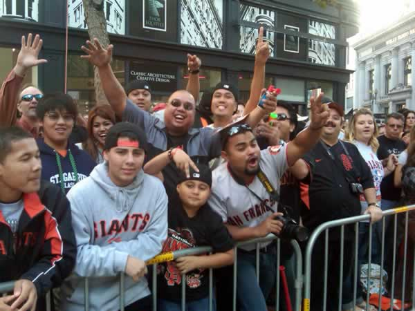 Fans line up downtown SF and prepare to celebrate the World Series win at the victory parade. <span class=meta>(Photo submitted by Lyanne Melendez)</span>