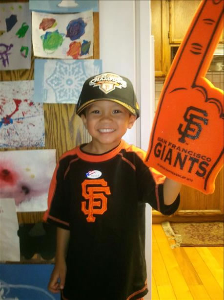 This is a photo of Ruby Barcelona&#39;s 4-year-old son getting ready to go to the Giants victory parade. <span class=meta>( &#40;Photo submitted by Ruby Barcelona via uReport&#41; )</span>