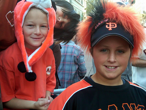 Kids get ready to celebrate the Giants World Series Victory by lining for for the victory parade in downtown&#39;s Market Street.  <span class=meta>( &#40;Photo submitted by ABC7&#39;s Lyanne Melendez&#41; )</span>