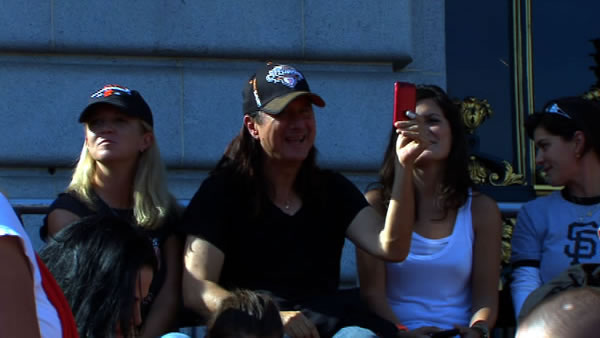 "<div class=""meta ""><span class=""caption-text "">Steve Perry enjoying ""Don't Stop Believin',"" the Giants post season anthem, being played at Civic Center.  (KGO)</span></div>"