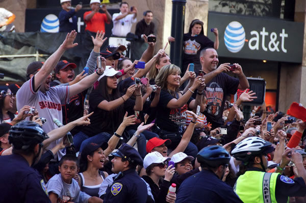 Photos of the San Francisco Giants celebrating their World Series victory with a parade in downtown.  (Photo submitted by Zachary Hoffman via uReport)