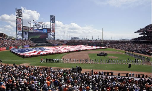 "<div class=""meta image-caption""><div class=""origin-logo origin-image ""><span></span></div><span class=""caption-text"">The San Francisco Giants run unto the field as they are introduced for their home-opening baseball game against the St. Louis Cardinals in San Francisco, Friday, April 8, 2011. (AP Photo/Eric Risberg)</span></div>"