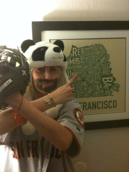 Amber sporting her &#34;fear the beard,&#34; panda hat and accessories.  Send us your Giants fan photos to uReport@kgo-tv.com or upload them to uReport.abc7news.com. <span class=meta>(uReport)</span>