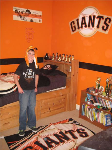Here is a picture of 10-year-old son Nate Wilson's room decked out in SF Giants gear. His dad was even lucky enough to go to Game 2 of the World Series!  (Photo submitted by Betsy Wilson via uReport)
