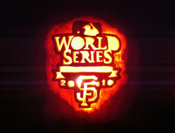 Here is a picture of a Halloween Pumpkin decked in SF Giants gear  (Photo submitted by uReport)