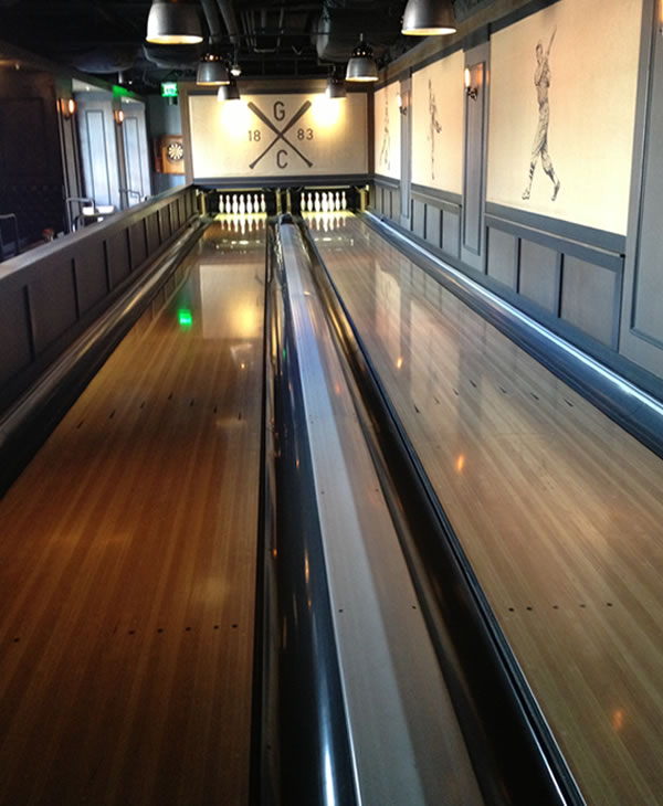 The bowling alley inside the Gotham Club on the suite level at AT&T Park in San Francisco.