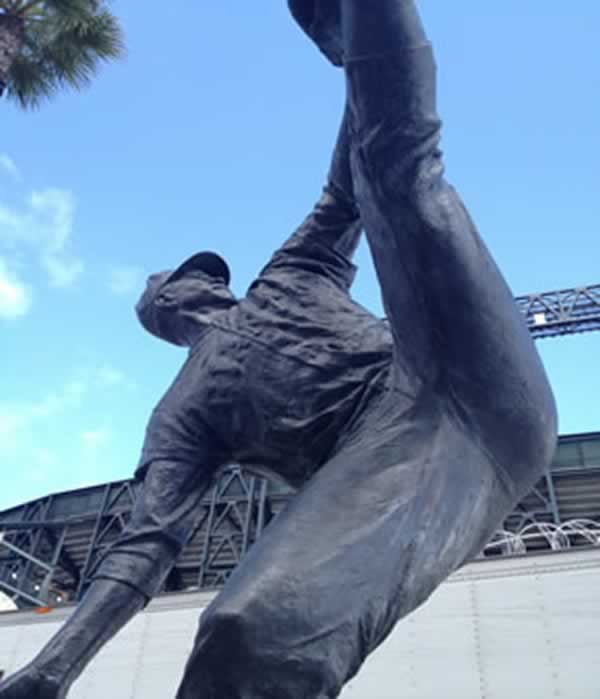 Willie Mays statue outside of AT&#38;T Park in San Francisco.  <span class=meta>(KGO)</span>